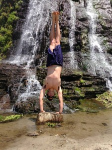 Steve Handstand at waterfall